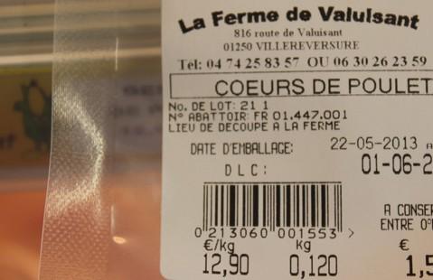 Etiquette sur les produits emballés